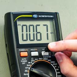 Prueba de transistores con el multímetro digital TRMS DMM PCE-DM 4